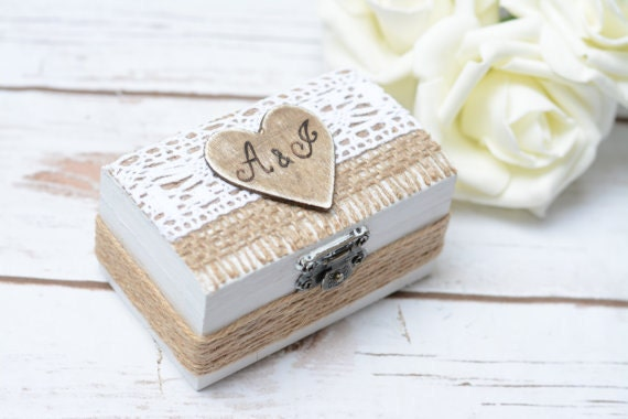 Ring Box Bearer Rustic Wedding Ring Pillow Personalized Ring Bearer Rustic ring box Hoder Wedding Decoration