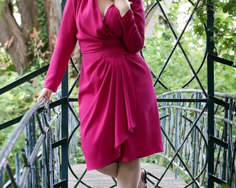 Dress fuchsia VINTAGE GLAMOUR - French manufacturing