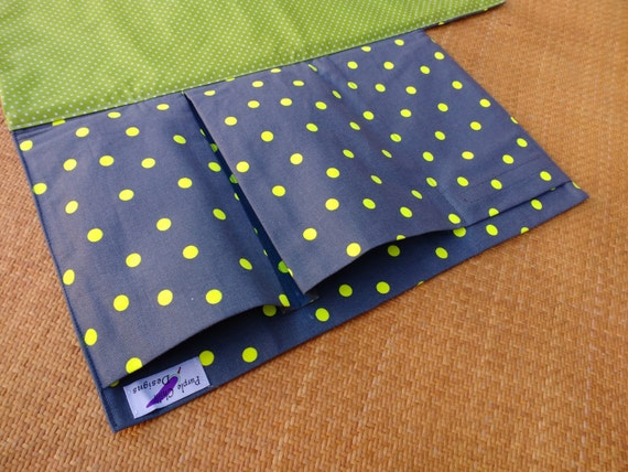 Nappy Wallet integrated with waterproof Change Mat - three or two pockets-Buzoku Fluro Small Spot Duck grey & yellow