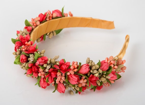 New spring floral crown / coral flower headband / ukrainian headpiece / orange green gold hair accessory
