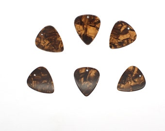 6 x Bronze Guitar Pick Marble Effect Celluloid With Holes For Making Jewellery