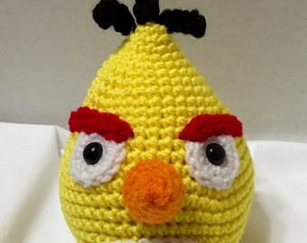 Crocheted Angry Bird Yellow 2,  Amigurumi, Crocheted Yellow Bird, Stuffed Angry Bird, Yellow Angry Bird, Amigurumi Bird