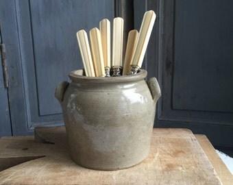 Antique French stoneware pot 19th