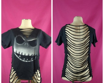 Halloween shredded shirt - upcycled Jack Skellington shirt - cut up shirt - shredded tee - Nightmare Before Christmas shredded shirt