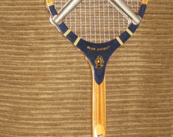 Vintage Slazenger Blue Knight Wooden Tennis Racket with Aluminum Brace