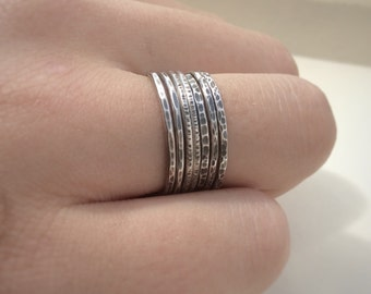 Sterling Silver Stacking Rings - SET OF SEVEN Stacking Rings - Rustic Stacking Rings - Textured Stacking Rings