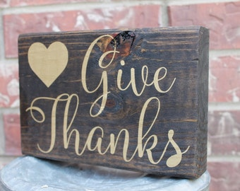 Give Thanks Block Sign, Thanksgiving Sign, Fall Sign, Autumn Sign, Holiday Sign, Fall Decor, Thanksgiving Decor