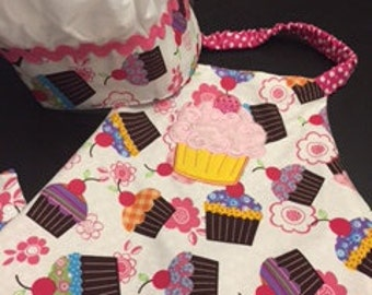 Cupcake Apron & Chef Hat for Children - 3 to 6 years old
