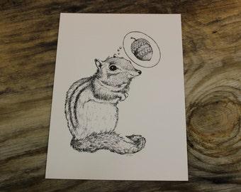 Dreamer Squirrel  Art Print