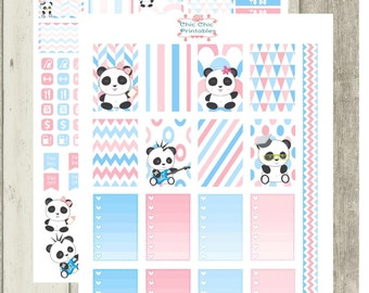 Cute Panda Stickers For Happy Planner {INSTANT DOWNLOAD}
