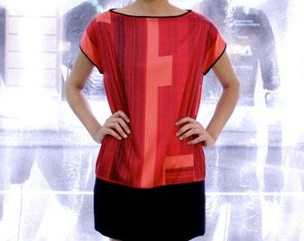 Coral Silk Dress, mini silk dress, t-shirt dress, printed t shirt dress, loose dress, coral shirt dress, red party dress, Sporty Dress