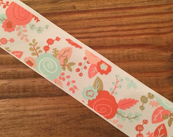 1.5 Inch Coral Teal Floral Grosgrain Printed Ribbon by the Yard