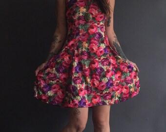 Vintage Secret Garden Ditsy Burnout Mini Dress