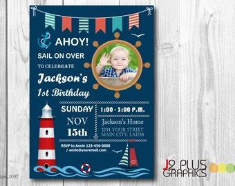 Photo Nautical Birthday Invitation with Photo, Nautical Photo Brithday Invitations, Nautical Birthday Party Invitation Card, Sailing Invites