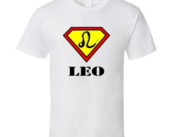 Leo Horoscope Superman Symbol July 23 - August 22 T Shirt