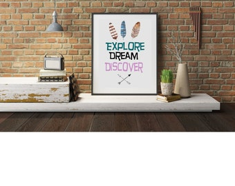 Typography A4 Poster Print on Paper Explore, Dream, Discover, Quote,  Modern Wall Art, Home Decor Unframed