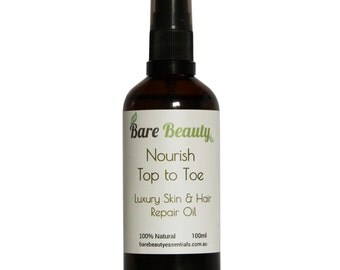 Nourish ~ Top to Toe Luxury Skin & Hair Repair Oil with kelp, Licorice root, Argan oil, hemp oil, evening primrose oil