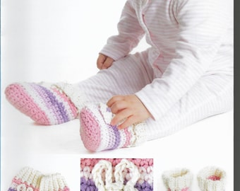 Crochet Baby Bunny Mittens and Booties Pattern only Natura Medium yarn