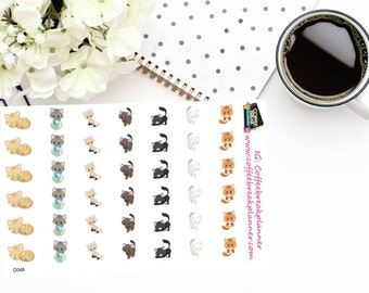 Planner Stickers| Adorable Cat Stickers for your planner| Cat Stickers|Pet Care Stickers|Cat Care Stickers| D048