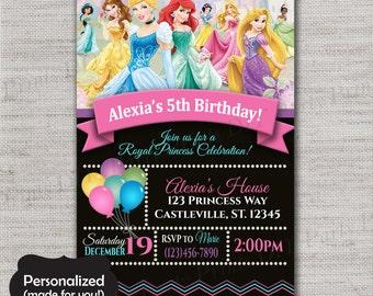 Princess Birthday Invite,Disney Princess Birthday Invite,JPG,Invite,Princess Party Invitation,Disney Princess,DPP32