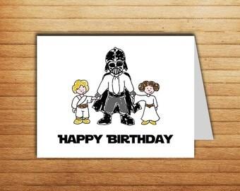 Printable Star Wars Birthday card Darth Vader card Happy Birthday card Luke Skywalker Princess Leia Star Wars gift for dad gift geek nerd