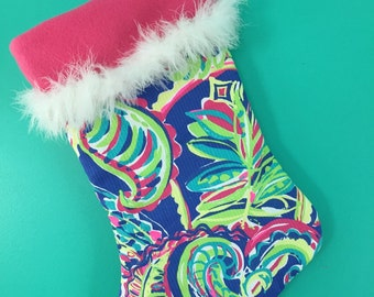 Lilly Pulitzer/ christmas/  stocking/ made to order/ monogram