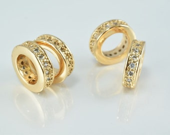 10mm Roundel 18k Gold Filled Micro Pave Beads with Clear CZ Cubic Zirconia GFM09G-10mm