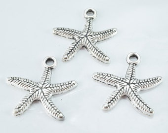 25m Antique Silver Alloy Sea Star Pendant, Sold by 1 pack of 6pcs, 2m hole opening, 3m pendant thickness