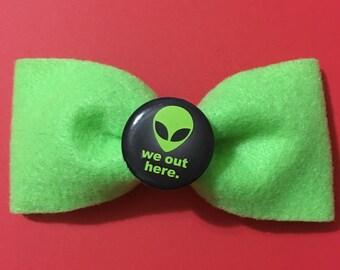 Green Alien Felt Hair Bow