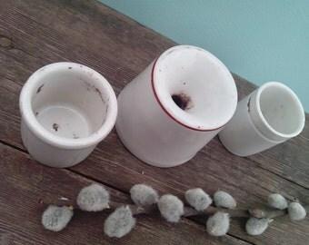 Antique inkwell porcelain price for sale desk set old pots ink well ceramic _ SET of 3