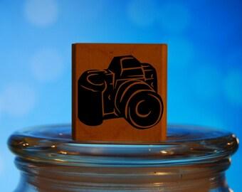 35mm Camera Rubber Stamp Mounted Wood Block Art Stamp