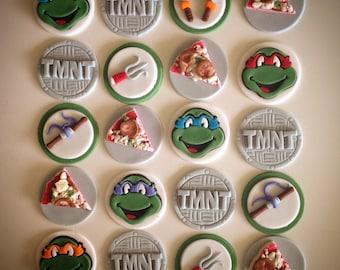 24 x TMNT Edible Fondant Cupcake Toppers - Teenage Mutant Ninja Turtles