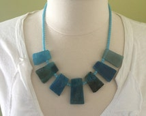 Chunky Handmade Blue Agate Statement Bib Style Necklace.  22""