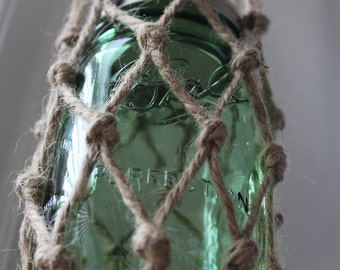 Knotted Nautical hanging mason jar