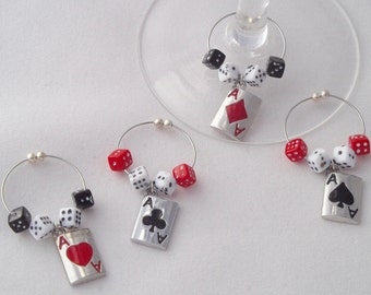 Ace Playing Cards Wine Charms