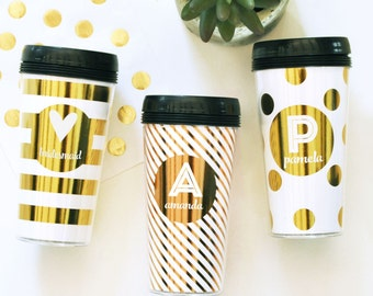 Metallic Gold Travel Coffee Mug- Bridesmaids Personalized Gifts - Bridal Party Gifts, Birthday Gifts