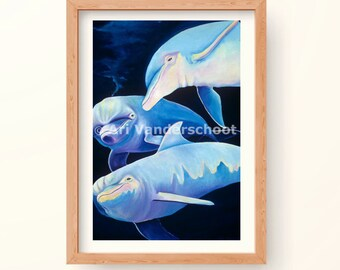Tropical Wall Art Print, Dolphins against a Deep Blue Ocean Backdrop, Aqua Marine Dream of Maui, Hawaii, Painting in Vibrant Colors