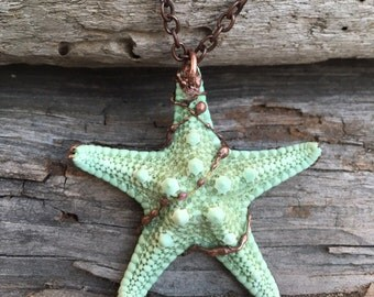 Starfish necklace, boho necklace, gypsy necklace, natural pendent,  accessories, resort trends, boho, natural jewelry