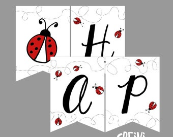 Instant Download Ladybug Birthday Banner, Happy Birthday Banner, DIY, Printable (LB001)
