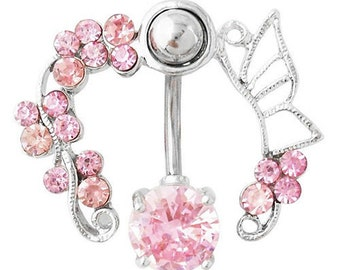 Pink Crystal Flower & Butterfly Navel Ring - Body Piercing 1.6mm (14g)