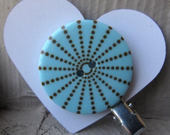 Blue & Brown Dot Button Hair Clip