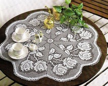 White Crochet Napkin Crochet Table Doily Handcrafted Home Decor Rustic Charm Delicate Lace Rose Table Center