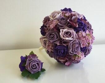 SALE - Silk / artificial purple brides bouquet & buttonhole