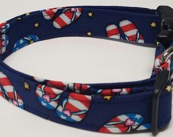 dog collar, patriotic flip flops, flip flop dog collar, patriotic dog collar, flip flop collar, patriotic collar, red white and blue collar