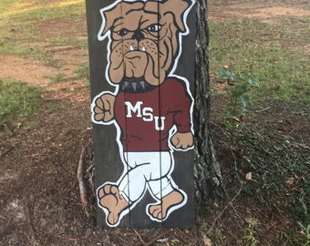Mississippi State-Mississippi State Bulldog-MSU-Collegiate-College Football-Football-Mississippi-Painted Sign-Wood Art-Sports-Sports Art