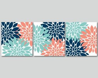 Navy Coral Aqua Wall Art,Teal Coral Floral Wall Art,Turquoise Coral Wall Art,Aqua Coral Bathroom Wall Art-12x12 UNFRAMED Set of 3