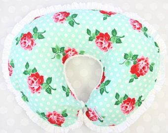 Lucy's Mint Rose Floral   Mint & White Ruffled Nursing Pillow Cover