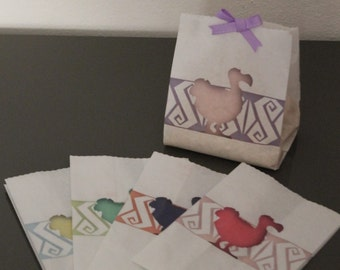 """20 Assorted decorated paper bags DoDo. White paper grocery bags. """"Confettata"""""""