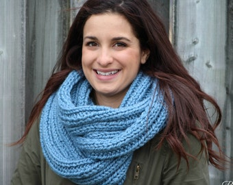 Knit, Chunky, infinity scarf, cozy, warm, hand made