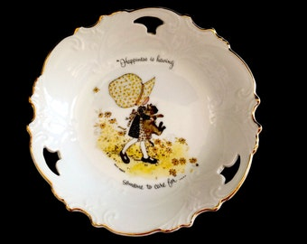 """Vintage Holly Hobbie Plate - Cookie Plate - Celebration of Caring - """"Happiness is having someone to care for"""""""